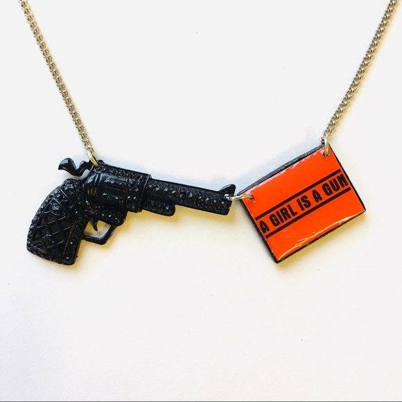 Official A Girl Is A Gun Logo Gun Necklace